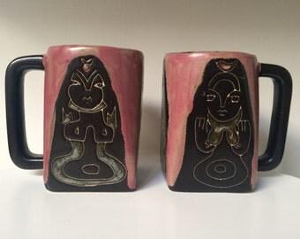 Vintage Mara Designed Stoneware Pair Of Mugs