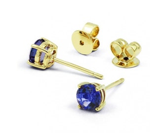 Classic 9ct Yellow Gold Blue Sapphire Stud Earrings
