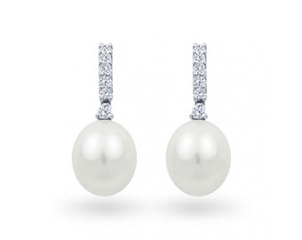 Freshwater Cultured Pearl Earrings With Diamonds