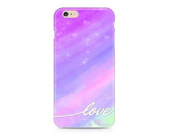 Love, Watercolor Phone Case, Purple and Pink Phone Case, Painterly Phone Case, Pretty Phone Case, iPhone 7, Samsung Galaxy S8