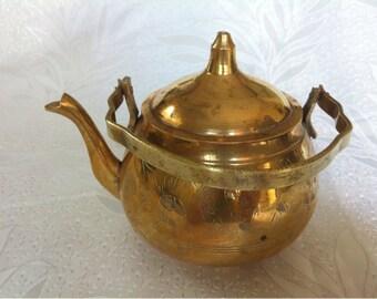 Mediterranean Collectible Brass Teapot Fresh Spring Decor Middle Eastern Style Decor Metal Teapot