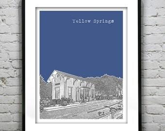 Yellow Springs Ohio Poster Print Art Skyline OH