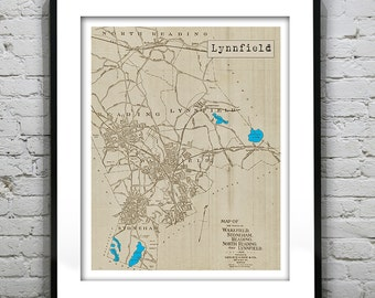 Lynnfield Poster Old Vintage Map Art Print Massachusetts