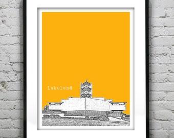 Lakeland Florida Skyline Poster Art Print FL Version 1