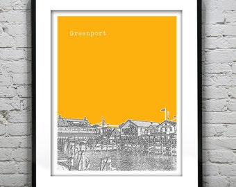 Greenport Skyline Art Print Poster Long Island NY Version 1