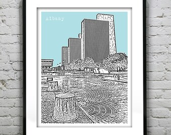Presidents Day Sale 15% Off - Albany New York Skyline Poster Print Art NY Version 4