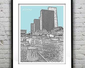 Albany New York Skyline Poster Print Art NY Version 4