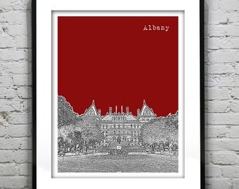 Presidents Day Sale 15% Off - Albany New York Poster Print Art Skyline  NY State Capitol Building Version 1