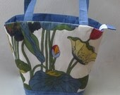 15.055.0012 OOAK, handmade, waxed shoulder bucket bag/tote made of linen