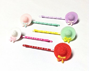 Colorful hat bobby pins, sun hat hair accessory