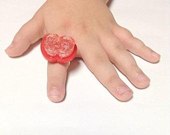 Red apple ring, glitter ring, fruit ring, food ring