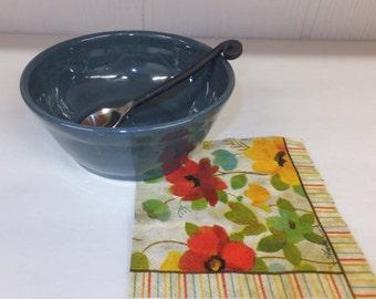 Fog Blue Ceramic Bowl, Handmade Pottery Cereal or Soup Bowl, Wild Crow Farm Pottery