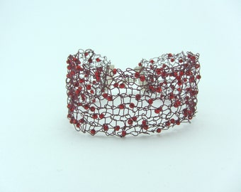 Red beaded knitted wire cuff, Hand knitted bracelet, Jewellery