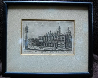 Original Antique Roman Architecture Miniature Copper Engraving Print - New Lower Price