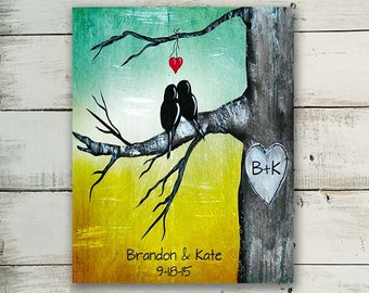 Custom First Anniversary Gift Personalized Print Love Birds Wall Art Engagement Gift Ideas Custom Wedding Gift for Couple 1st Anniversary