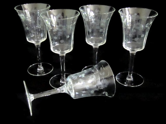 On Sale Vintage Wine Glass Glasses Etched Five By Funkeysfinds