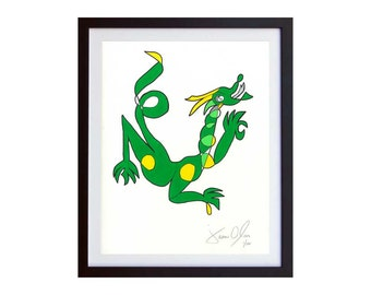 Dragon, Small (Color):  Hand Painted Work on Paper, Framed and Signed Edition of 100 by Jason Oliva Art Painting Print Picture Gift