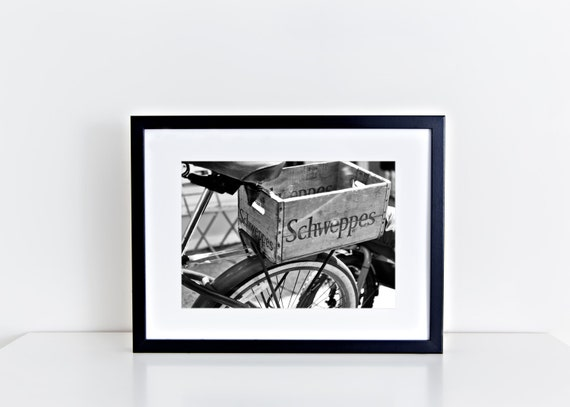 Delivering Schweppes // black and white bicycle, schweppes box, vintage photography, vintage home decor, black & white wall art, wall art,