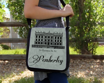 Jane Austen Pride & Prejudice Pemberley House  Messenger Bag Shoulder Handbag Gift Book Quote Green
