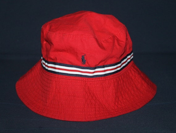 Vintage polo ralph lauren classic pony red bucket hat golf ski for Polo fishing hat