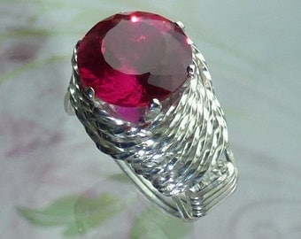 Your Choice of Birthstone Ring Wire Wrapped Jewelry Handmade in Silver FREE SHIPPING