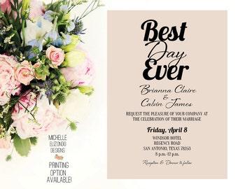 Wedding Invitation-Rustic-Digital File-5x7-Best Day Ever Wedding Invitation-Best Day Ever Wedding Printable