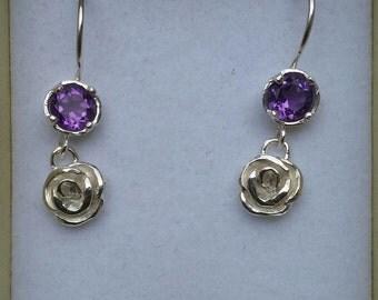 Amethyst Silver Earrings,Flower Silver Earrings ,Sterling Silver 925 Dangle Earrings ,Handmade Gematones Earrings ,Women Chandelier Earrings