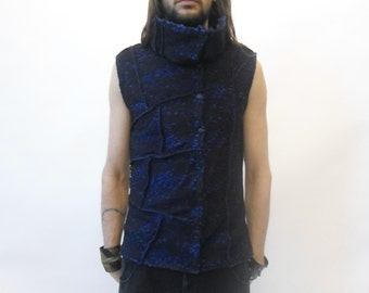 Futuristic / rave / sci-fi waistcoat / vest with high collar