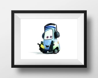 Digital Download Cars 2 Guido Grand Prix Poster Art Nursery Print, Disney Pixar Cars 2 Nursery Art Boys Room - 8x10 or 11x14.