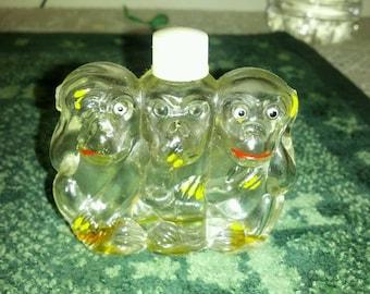 Vintage miniature perfume bottle novelty see no evil,hear no evil,speak no evil