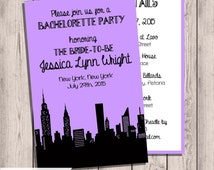 New York City Skyline, NYC Skyline, NYC Bachelorette Party Invitation, Custom, with Itinerary, Double-Sided, Any color, 5x7