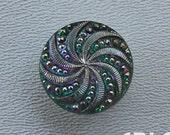 CZECH GLASS BUTTON: 18mm Swirl Handpainted Czech Glass Button, Pendant, Cabochon (1)