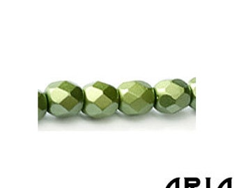 PASTEL OLIVINE: 4mm Faceted Round Firepolish Czech Glass Beads (50 beads per strand)