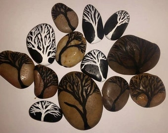 Hand Painted Celtic Stones - Trees - Set of 5