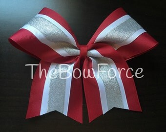 Cardnial Cranberry Red White Silver Cheer Bow - #239572892