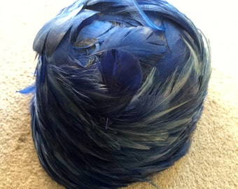 Blue feathered vintage hat