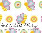 Customised Birthday Invite - Butterfly - Digital