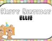 Customised 'Numerical Bear' Birthday cards (2 designs) - Digital
