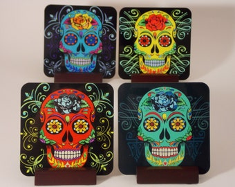 Coaster Sugar Skull Color Set w/FREE Gift Card - Set of 4