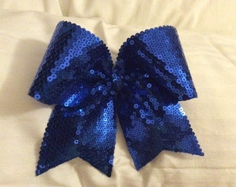 Royal Blue Sequin Cheer Bow