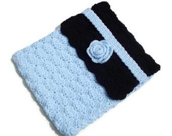 Crochet Blue Black Laptop Netbook Cover Case Cozy Sleeve