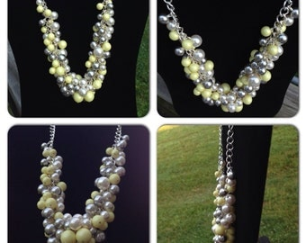 Kennedy - Pearl Necklace, Yellow Gray necklace, Gray Bridal Necklace, Wedding Jewelry, Swarovski Pearl Cluster Necklace, Gray and Yellow