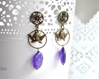 Purple pearl earrings bronze angel