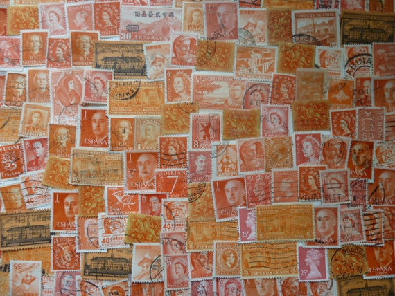 Orange Stamps Lot of Used Postage Stamps for by StampsForCrafts
