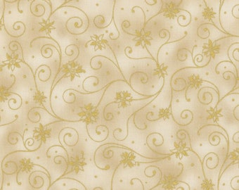 RJR Holiday Accents Cream Gold Swirl Poinsettia Dot Christmas Fabric BTY 0782