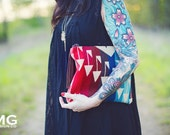 Arrow Clutch in Pendleton Wool, Ombre clutch,  wool Clutch, Tribal Clutch, Native clutch, Aztec clutch, red, blue, Native Bag