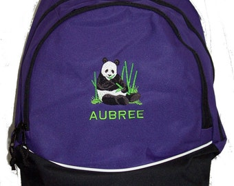 FREE SHIPPING - Panda Bear  Personalized Monogrammed Backpack Book Bag school tote  - NEW