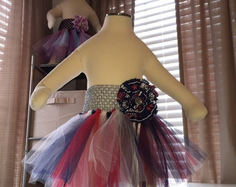 New England Patriots Navy Blue, Red, White and Silver Baby Girl Tutu With Patriots Hair Bow