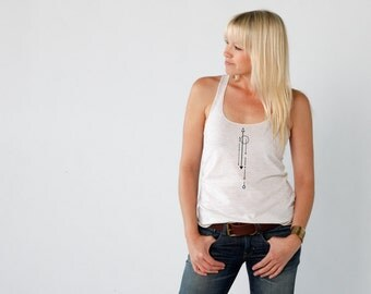 Women's Graphic Tee with Petroglyph Design by Kult Designs-Americal Apparel Oatmeal racer back tank
