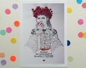 Her heart was a secret garden & the walls were very high / Signed print by Niki Pilkington